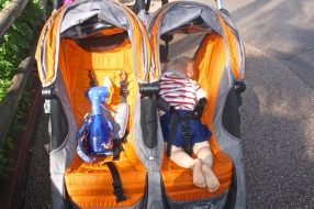 Morning nap in the stroller...