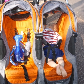 Morning nap in the stroller...